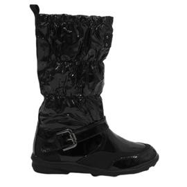 Schwarze kurze lackierte Y110 warme Stiefel
