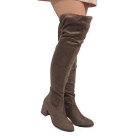 Braun Taupefarbene Stiefel auf warmem Pfosten 1704-8
