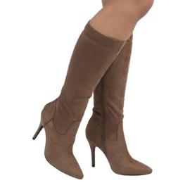 Braun Taupefarbene Stiefel mit Stöckelabsatz 1101-2