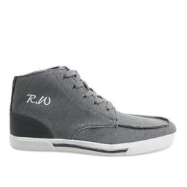 Graue elegante hohe Schuhe F10455
