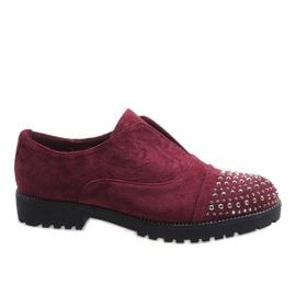 Rot Burgunder Pantoffeln mit Nieten 22-2