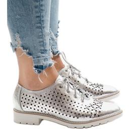 Grau Silber durchbrochene Schuhe mit G-106-2 Nieten