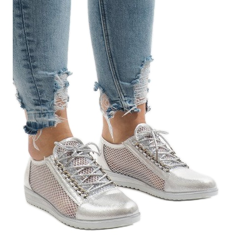 best loved fed74 bbc2d Grau Silber durchbrochene Schuhe TL44