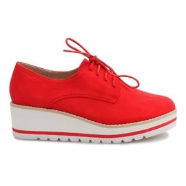 Rot Schuhe auf dem Keil Jazzówki LM-029 Czerwony