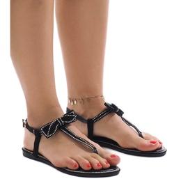 Schwarze Sandalen mit Pailletten CX0707