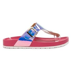 Ideal Shoes pink Flip-Flops mit Holo-Effekt