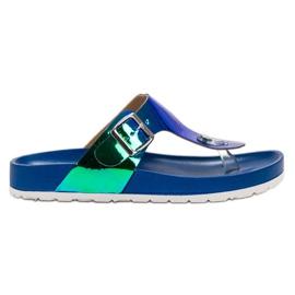 Ideal Shoes blau Flip-Flops mit Holo-Effekt