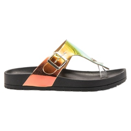 Ideal Shoes schwarz Flip-Flops mit Holo-Effekt