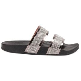 Ideal Shoes grau Frauen Hausschuhe Mit Zirkonen
