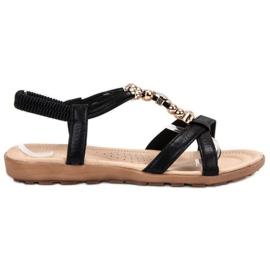 SHELOVET schwarz Flache Sandalen mit Dekorationen