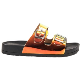 Ideal Shoes gelb Hausschuhe Mit Holoschnalle