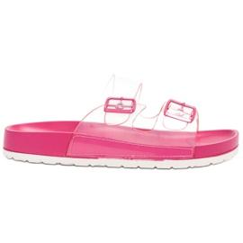 Ideal Shoes pink Transparente Klappen Se Schnalle