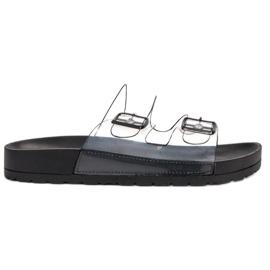 Ideal Shoes schwarz Transparente Klappen Se Schnalle