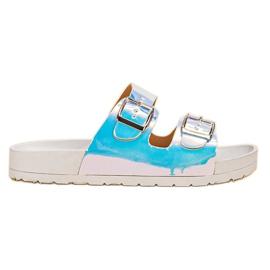 Ideal Shoes grau Hausschuhe Mit Holoschnalle