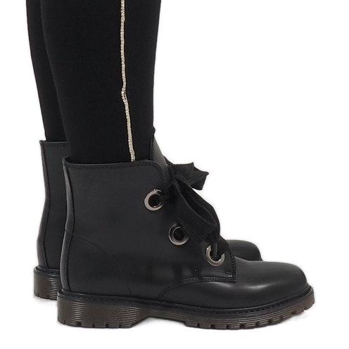 sehr günstig Sortendesign Original wählen Kayla Shoes Schwarze Schnürstiefel PF276