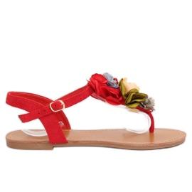 Flip-Flops mit Blumen rot L518 Rot