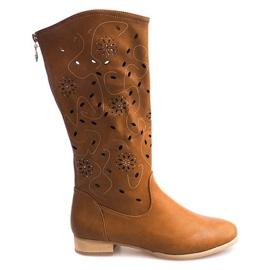 Braun Durchbrochene Stiefel TLT1301 Kamel