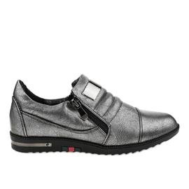 Graue Schuhe mit Reißverschluss H034