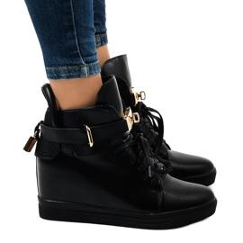 Schwarze Wedge-Sneakers mit H6600A-Schnalle