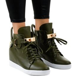 Grüne Wedge Sneakers mit einer Schnalle H6600-77