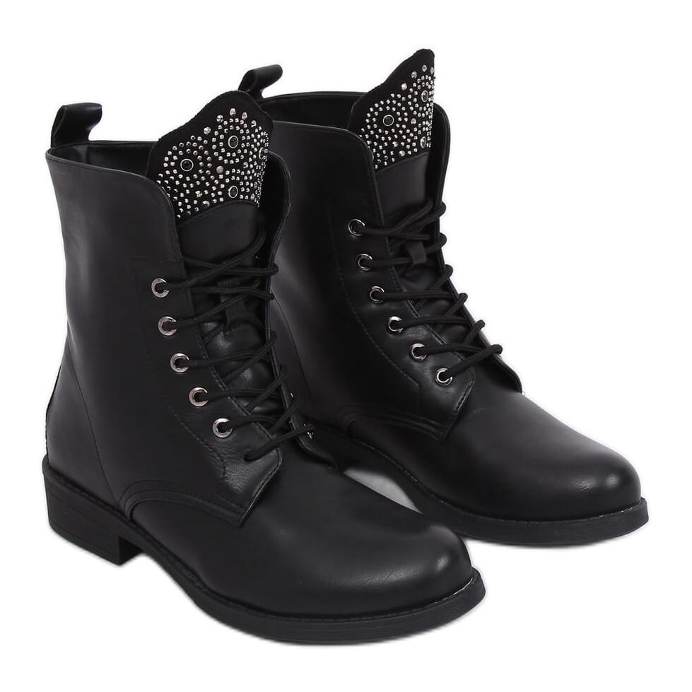 Top-Mode Top Marken kostenloser Versand Militärische schwarze Stiefel 7369-PA Schwarz