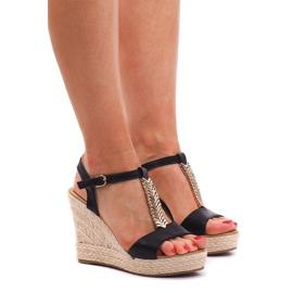 Sandalen mit Keilabsatz Espadrilles PT1258 Schwarz