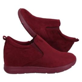 Schuhe auf einem versteckten Burgunder Keil ZY-7K67 Rot