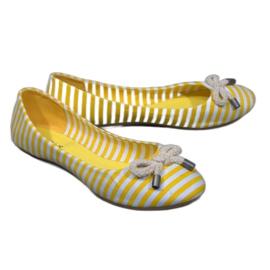 Gestreifte Ballerinas mit gelber 16-C-Schleife