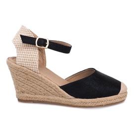 Espadrilles Wedge Sandals Stiefel A198-3 Schwarz