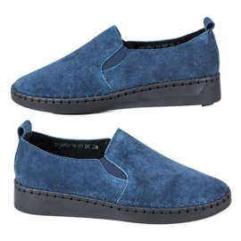 Filippo blau Lederturnschuhe Slip On