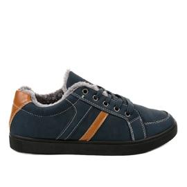 Dunkelblaue Herren Sneakers mit Fell E756M-2 marine