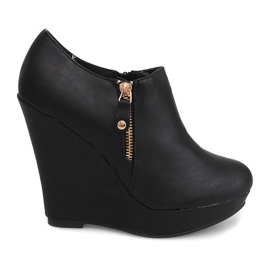 Wedges Ankle Boots B160 Schwarz