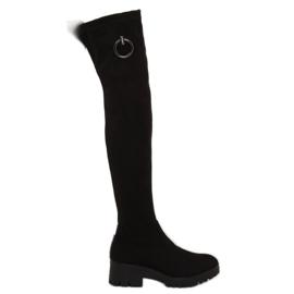 Schwarz Damen Overknee Stiefel NC712 Schwarz