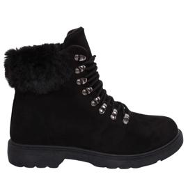 Schwarz Damen Trapper Schuhe Y260-9 Schwarz