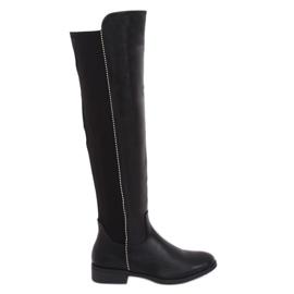 Schwarze Stiefel mit elastischem Schaft schwarz 17005A-128 Schwarz