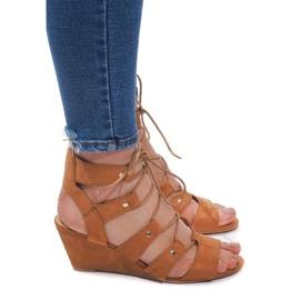 Braun Schnür-Sandalen mit Keilabsatz LL-115 Camel