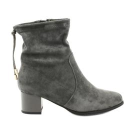 Daszyński SA58 Wildleder High Heels Stiefel grau