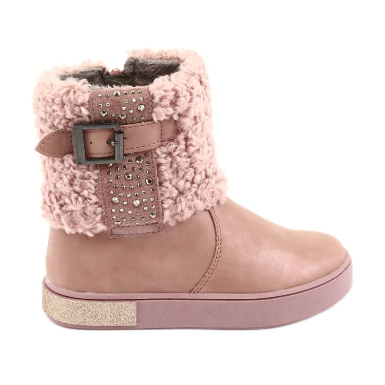American Club Stiefel mit Fell am Reißverschluss pink