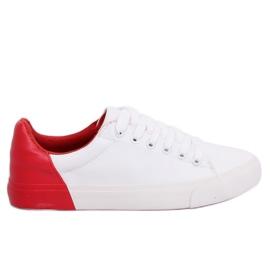 Weiße und rote Damen Turnschuhe A88-29 W-RED II Type