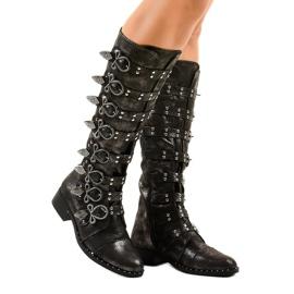 Schwarze Stiefel reich verziert NC271