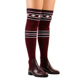 Oberschenkelhohe Stiefel Maroon Socke 29-7 rot