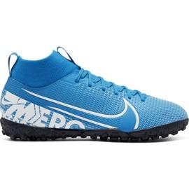 Nike Mercurial Superfly 7 Akademie Tf Jr AT8143 414 Fußballschuhe blau weiß, blau
