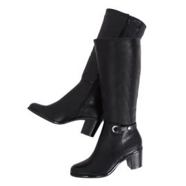 Klassische schwarze High Heels Stiefel BM-9090 Black