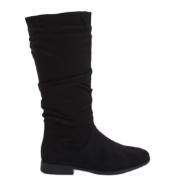 Schwarze Stiefel mit flachen Absätzen M629 Schwarz
