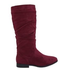 M629 Wine Stiefel mit flachem Absatz rot