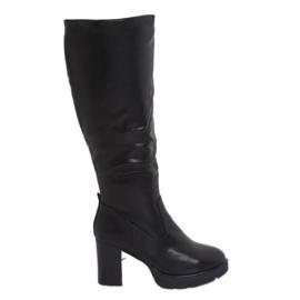 Schwarz Isolierte High Heels Stiefel Q600-04 Schwarz