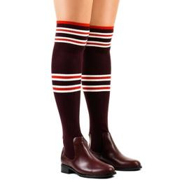 Burgunder Oberschenkel Stiefel Socke FD-69 rot