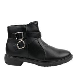 Schwarze flache Stiefel mit isolierten Jodhpur-Stiefeln CH-21