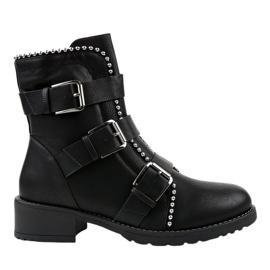 Schwarze isolierte flache Stiefel Z149