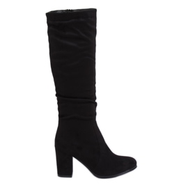 Klassische schwarze High Heels Stiefel 750-05 Schwarz